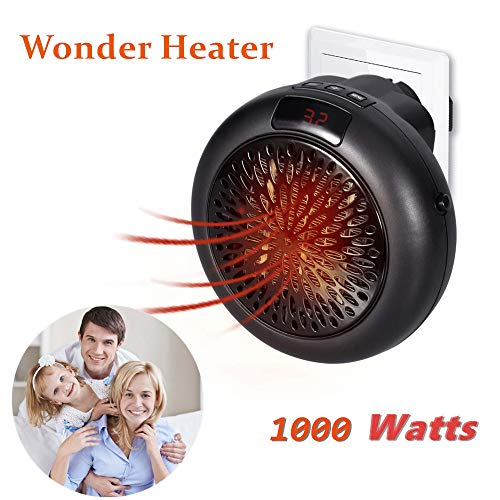 Calefactor Portátil Handy Heater 1000W Bajo Consumo Temperatura Regulable Baño Casa Oficina Enchufe UE (Negro)