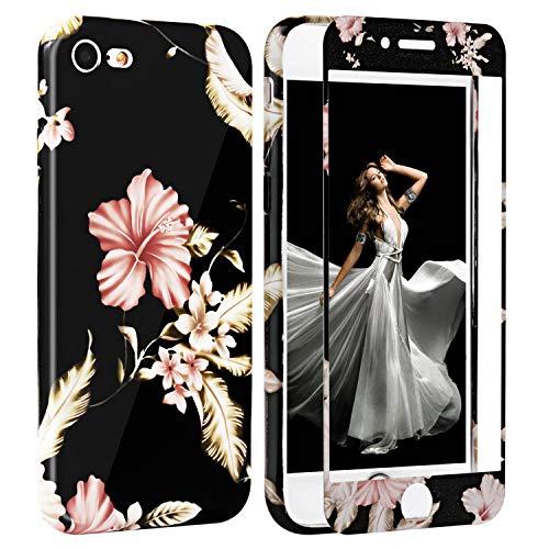 iPhone 7 Hülle Panzerglas, iPhone 8 Hülle Blumen, Zxk Co Silikon Schutzhülle mit Blumen Muster und [3D Touch ] [9H Hartglas] Schutzglas 360 Grad Komplettschutz für iPhone 7/iPhone 8 4,7 Zoll
