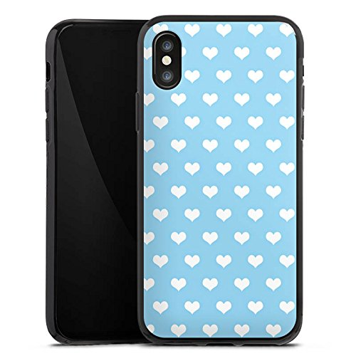 Apple iPhone X Silikon Hülle Case Schutzhülle Herzen Hellblau Muster Silikon Case schwarz