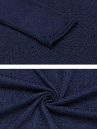 Cardigan Damen Kurz, Pagacat Offen Lässig Langarmshirt Strickjacke Strickmantel mit Asymmetrischem Saum Blau