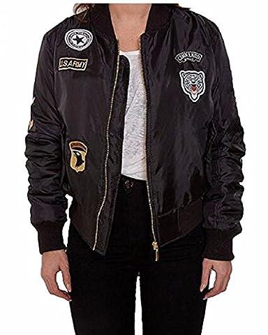 Auxo Chaud Blouson Femme Cool Bomber Veste Aviateur Classique Matelassé Vintage Manteaux Jacket Coat Noir FR 38-40/EtiquetteTaille M