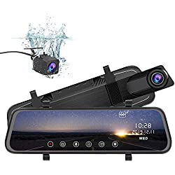 "Mirror Dash Cam, IPS 10"" Full Touch Screen Dashcam 170° Wide Angle 1080P Stream Media Car DVR Recorder with Night Vision, G-sensor, Parking Monitor, Motion Detection, Loop Recording, WDR"