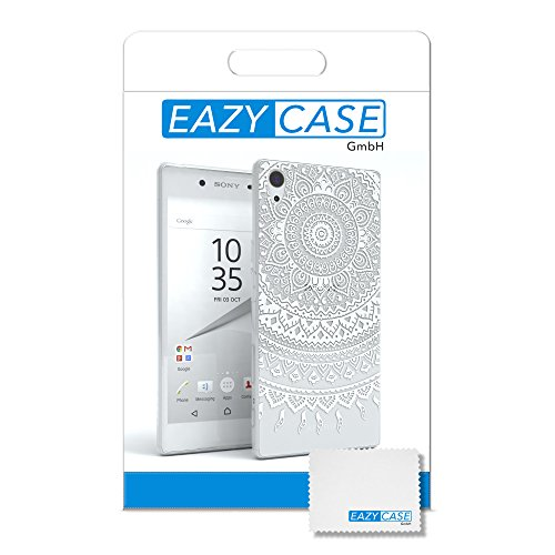 "EAZY CASE Handyhülle für Sony Xperia Z5 Hülle - Premium Handy Schutzhülle Slimcover ""Brushed"" Aluminium Design - TPU Silikon Backcover in brushed Rosa Henna Weiß"