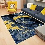 DAMENGXIANG Moderne Blau Gelb Abstrakt Teppich Für Wohnzimmer Couchtisch Schlafzimmer Rutschfeste Bodenmatte Wohnkultur Fuß Pad 80 × 160 cm