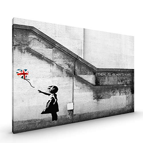 Union Jack Leinwand (Banksy Street Art Graffiti Leinwand oder Poster, gerahmt, glänzend, randlos, Balloon Girl Union Jack, Canvas - Size 22 x 16 Inch)