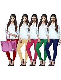 LUX LYRA Women's Cotton Ankle Length Leggings (Multicolour_Free Size)