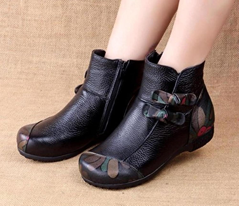 GTVERNH-Zapatos De Cuero Con Estilo Tradicional De Cachemira, Flores Hechas A Mano Ronda Botas, Botas, Botas Vintage...