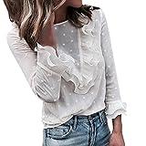 Ansenesna T Shirt Damen Herbst Winter Weiss Spitze Langarm Stoff Elegant Tops Mädchen Unifarben Vintage Slim Fit Für Festlich (Weiss, S)