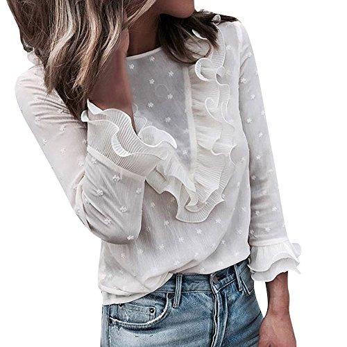 OSYARD Damen T-Shirt Oberseiten Pullover Sweatshirt, Frauen Rundhals Hemd Kleidung Pulli Tunika Slim Fit Strickpullover Spitze Elegant Langarmshirt Rüschen Tops Bluse Oberteile(S, Weiß)