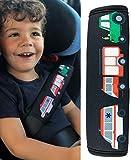 HECKBO® 1x Protezione per Cintura di Sicurezza, Spallina Imbottita, Cuscino per Auto, Copricintura per Bambini con Camion dei Pompieri, Trattore, Ambulanza - anche per Seggiolini su Auto e Bici