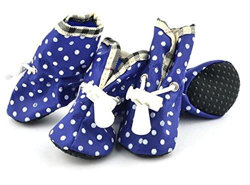 WYXIN Dot Pet Regen Stiefel Oxford Tuch Wasserdicht Hund Schuhe Kunststoff Schuhe Füße Set , blue , 1 -