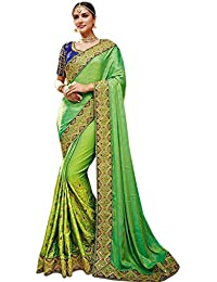 SareePopular Crepe Chiffon Saree With Blouse Piece (97032_Green_Free Size)