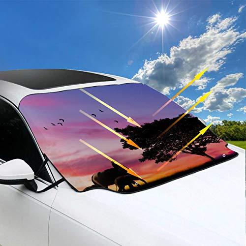 Sombrilla de parabrisas de automóvil para suv Un lindo bebé elefante Sol flotante Sombrilla de ventana de automóvil 57.9x46.5 pulgadas (147cmx118cm) para la mayoría de los vehículos al proteger el pa