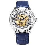 KS Armbanduhren für Herren männer Edelstahl Luxus Automatische Mechanische Skelett Analog Lederband Uhr Blau KS387