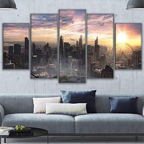kxdrfz Leinwand Gemälde Home Decor 5 Stücke Chicago Cityscape Sky View Poster Wand Kunst Stadt Sonnenaufgang Landschaft Bilder Rahmen-Frame