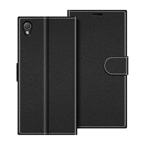 COODIO Coque en Cuir Sony Xperia Z3, Étui Téléphone Sony Xperia Z3, Housse Pochette Sony Xperia Z3 Fonction Stand Etui Coque pour Sony Xperia Z3, Noir