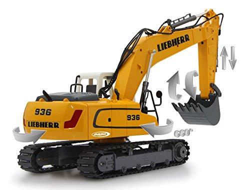 Jamara 405060 - Bagger Liebherr R936 1:20 2,4G - realistische Funktionen (entladen/ aufladen), jedes Gelenk einzeln steuerbar, 660 ° Turmdrehung, Metallschaufel, Motorsound, Hupe, Rückfahrwarnsound - 5