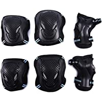Selighting Protective Gear Set Adults Teens Kids - Knee Pads/Elbow Pads/Wrist Guards Skateboarding Biking Riding Cycling Scooter Rollerblading Roller Skating - 6 pcs Street Sports Protective Pads