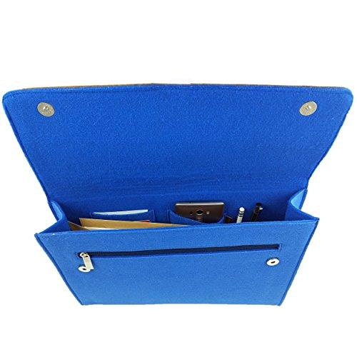 Venetto DIN A4 Business Aktentasche Arbeitstasche Herren Damen Unisex Filztasche Tasche aus Filz mit Echtleder-Applikationen (Grau) Blau hell