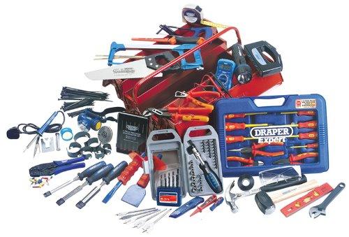 Elektriker Werkzeugset - umfassende Set mit robustem lackiertem Stahlblech vier freitragenden Verpackungsgröße 530 x 200 x 210 mm.