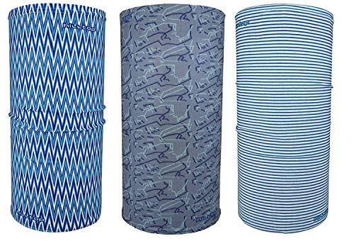 Hilltop 3 x scaldacollo da moto multifunzione/sciarpa da moto/sciarpa/set da 3 pezzi, grigio blu chiaro