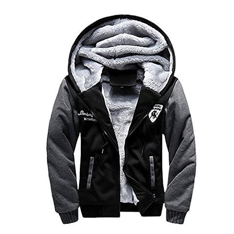 WALK-LEADER Mens Thick Fur Lined Zip Up Hooded Hoodies Sweatshirt Jacket Outwear Black XL