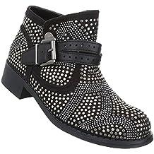 Schuhcity24 Damen Stiefeletten   Aktuelle Boots Schnalle Kette    Knöchelhohe Stiefel Leder-Optik   Worker 887a0defab