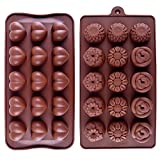 euhuton 2Silikon Schokolade Candy Form Set, 1Pack Herz Silikon Schokolade Candy und 1Pack Blume Schokolade Silikon Formenbau (braun)