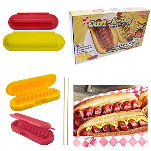Curl-a-Dog Wurstschneider BBQ Spirale Grillen Hot Dog Wurstschneider Kochset 2 Stück