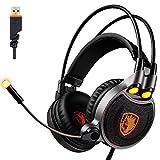 Kopfhörer Gaming, SADES R1 PC Headset-Kopfhörer 7.1 Kanal-Surround-Sound USB Gaming Headset mit Mikrofon LED-Licht