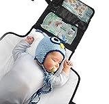 Wickelunterlage für unterwegs mit Aufbewahrungsfach von Kid Transit. Reisetauglich, klein, leicht und kompakt. Inkl. Platz für Feuchttücher, Windeln, Wickelcreme