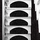 Hochflorteppich Memphis  Shaggy Teppich für Wohnzimmer, Schlafzimmer und Kinderzimmer  verschiedene Größen  4 Farben  Kombinierbar mit Stufenmatten (Schwarz, Stufenmatte halbrund (65x23 cm), 1 Stück)