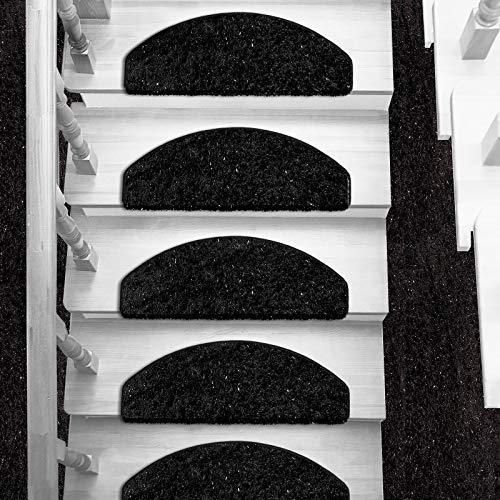 Hochflorteppich Memphis |Shaggy Teppich für Wohnzimmer, Schlafzimmer und Kinderzimmer |verschiedene Größen |4 Farben |Kombinierbar mit Stufenmatten (Schwarz, Stufenmatte halbrund (65x23 cm), 1 Stück)