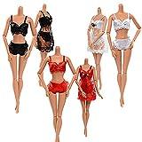 Fatto a mano Pigiama Bikini Lingerie Set - 3 pz Pizzo Abito da Notte 3 pz Reggiseno e 3 pz Biancheria Intima per la Bambola Barbie Regalo per Bambina Colore Casuale (9 pezzi)