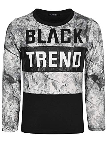 Kinder Jungen Pullover Langarm-Shirt Pulli Sweater Logo Print Rundhals 30127 Schwarz 128 bis 134 -