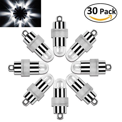Vanble 30 LED-Ballons Lichter Wasserdicht Beleuchtung für Papierlaternen Ballons Blumendekoration, Nicht-blinkend, Wasserfeste, Weiß [Kaltes Weiß]