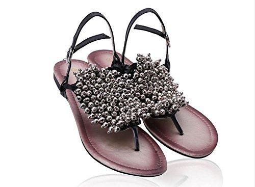 Sandali donna estate piatti con metallo a mano, perline flip piatte scarpe a punta clip triangolo , black , 40