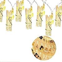 Guirlande lumineuse à LED à clips Photo -40clips photo, 5m Fonctionne à piles - Éclairage d'ambiance - Décoration pour photos, mémos, œuvres d'art suspendus