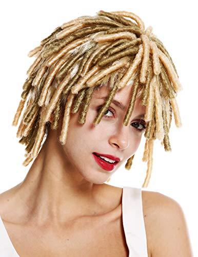 A89/ZA88 Perücke Damen Herren Karneval Spirallocken Afrolocken kurz voluminös Afro Karibik Rasta Dreads Heller Blond Mix ()