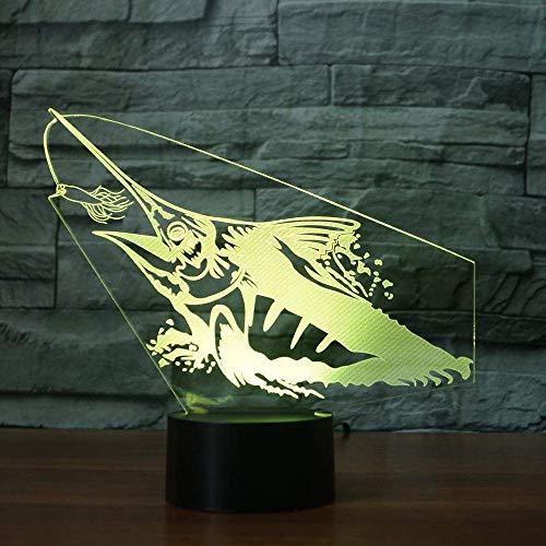 Angeln 3D Nachtlicht Fisch Modell 3D Illusion Lampe Led 7 Farbwechsel Usb Remote Touch Kinderzimmer Led Kinder Lampe Schlafzimmer Lichter - Angel-touch-lampe