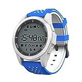 MLL Sport Bluetooth Uhr kompatibel mit Langen Standby-Erinnerung Schritt Zähler Tiefe wasserdicht Smart Watch,Blau,A