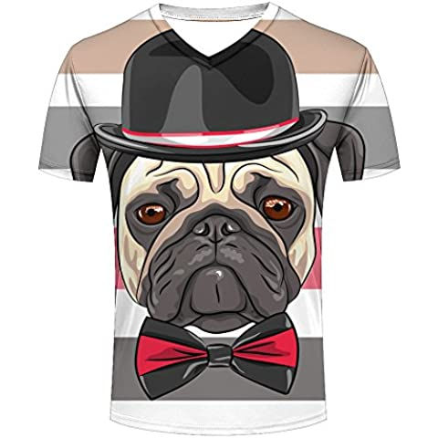 Hipster Dog and Cat Graphic Printed T-shirt For Mens