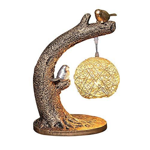 Vogel Dekorative Wohnzimmer Tischlampe - Akzentlampe Polyresin Perfekte Skulptur mit natürlichem Beige Rattan Lampenschirm, Arm Tische, Bücherregal, Bett, Kabine (Color : Gold) -