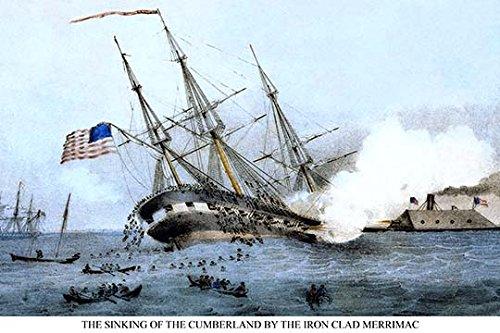 Buyenlarge 0–587–23253Rangierhilfen für Fahrzeuge–6-g1827Der Untergang der Cumberland bei der Schlacht von Hampton Roads, Virginia 'Giclée Fine Art Print, 45,7x 68,6cm