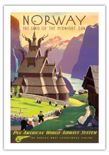 Norway, The Land of the Midnight Sun - Stave Church - Pan American World Airways System (PAA) - Vintage Airline Travel Poster by Ivar Gull c.1939 - Fine Art Print - 27in x 40in