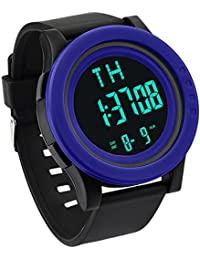 STRIR Reloj digital impermeable, Reloj LED digital deportivo Fecha de alarma Reloj impermeable con banda