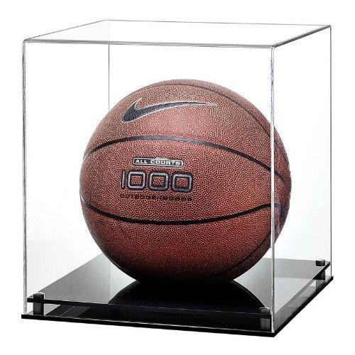 Glas Vitrine Basketball (Basketball Plexiglas Vitrine mit schwarzem Sockel)