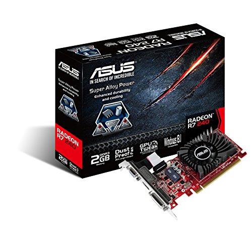 Asus AMD Radeon R7 240 Silent Low-Profile-Grafikkarte (PCI-e, 2GB GDDR3 Speicher, HDMI, DVI, VGA, 1 GPU)