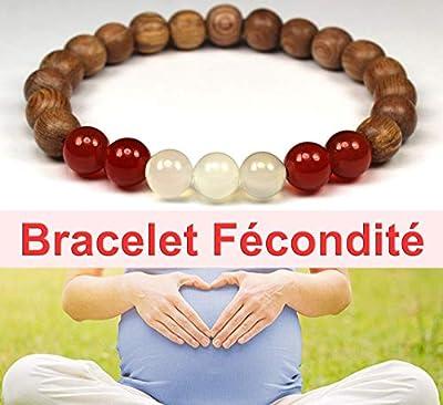 Bracelet fécondité pour femme favorise la grossesse et la fertilité, pierre de lune cornaline et perles de bois, idée cadeau femme enceinte