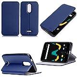 Wiko Upulse LITE 4G/LTE Dual Sim Tasche Leder Schutzhülle blau Cover mit Stand - Zubehör Etui Wiko U pulse Lite 2017 / 2018 5.2 zoll Flip Case (PU Leder, Handytasche Hülle blue) - XEPTIO accessories